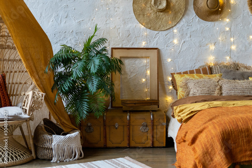 Cozy house with room in boho style interior фототапет