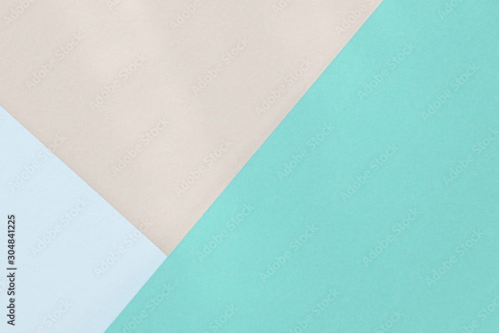 Fototapeta Green blue beige paper background. Geometric figures, shapes. Abstract geometric flat composition. Empty space on monochrome cardboard