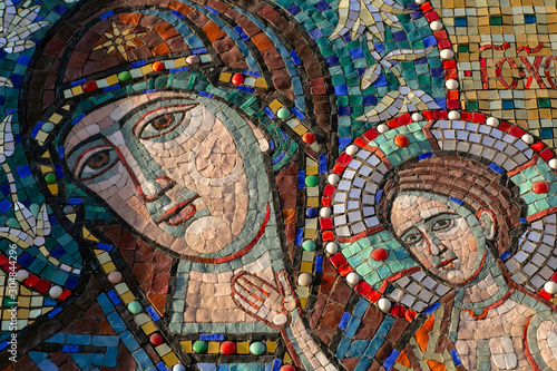 Orthodox mosaic icon of the Virgin (Holy Virgin Mary) on the wall of an Orthodox Wallpaper Mural