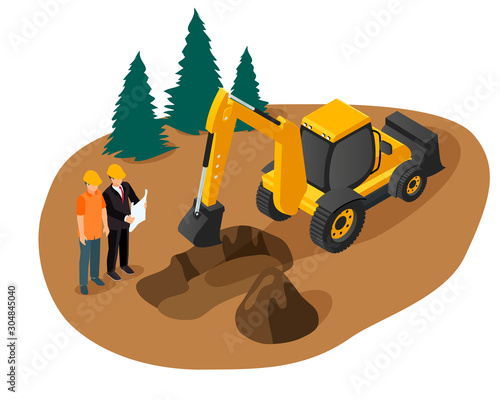Fotografía Isometric vector of an excavator digging a foundation pit for a building