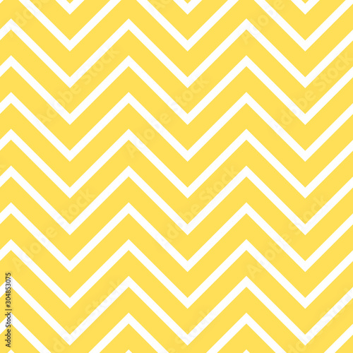 fototapeta na ścianę Yellow chevron seamless pattern. Bright yellow zigzag repeating pattern for fabric, baby shower paper, gift wrap, backgrounds, borders, frames, scrapbooking and more.