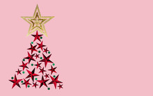 Christmas Tree Made From Gold,red Star Color With Green On Pink Background. Artwork Minimal Pastel Illustration Design For New Year, Christmas Or Special Day.