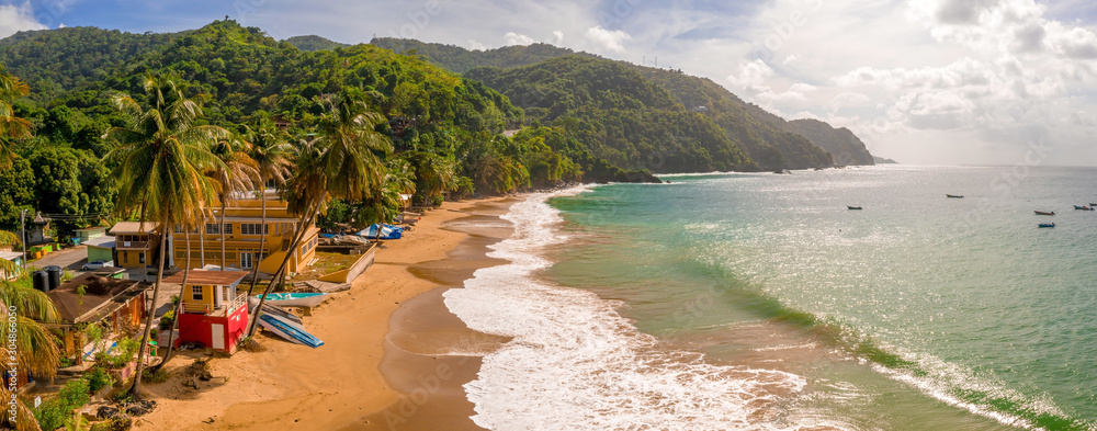 Fototapeta Beautiful tropical Barbados island. View of the golden beach with palms and crystal clear water. Perfect holidays background.