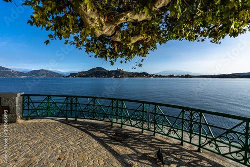 Picturesque waterfront promenade in Arona on the shores of Lake Maggiore, Piedmo Canvas Print