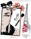 Fototapeta Fototapety z wieżą Eiffla - Hand drawn stylish table set with notes, sketches, makeup brush, sunglasses and flowers. Woman face sketch and eiffel tower. Vector illustartion.