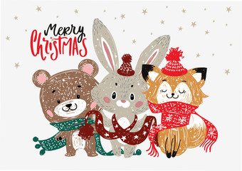 Christmas Posters. Vector illustration. Template for Greeting Scrapbooking, Congratulations, Invitations, Stickers, Planners and cards.
