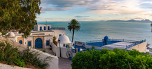 Sidi Bou Said Town In Tunisia Known For Extensive Use Of Blue And White