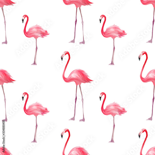 Seamless pattern with pink flamingo Canvas Print