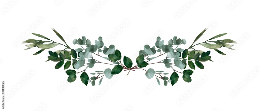 Fototapeta Watercolor modern decorative element.  Eucalyptus round Green leaf Wreath, greenery branches, garland, border, frame, elegant watercolor isolated, good for wedding invitation, card or print