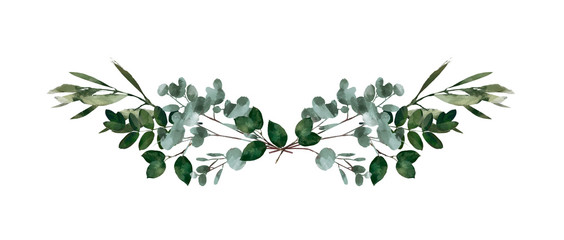 Watercolor modern decorative element. Eucalyptus round Green leaf Wreath, greenery branches, garland, border, frame, elegant watercolor isolated, good for wedding invitation, card or print