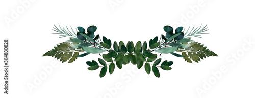 Obraz Watercolor modern decorative element.  Eucalyptus round Green leaf Wreath, greenery branches, garland, border, frame, elegant watercolor isolated, good for wedding invitation, card or print - fototapety do salonu