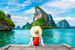 canvas print picture Traveler woman looking amazed nature scenic landscape tropical island Phang-Nga bay Adventure lifestyle tourist travel Phuket Thailand summer holiday vacation  Tourism beautiful destination place Asia