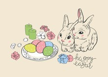 Happy Easter. Rabbit Hare Bunny And Eggs. Hanging Painted Eggs.Greeting Card.Wicker Basket With Eggs. Vector Illustration