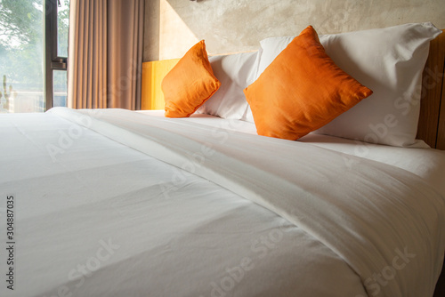 View of comfortable Double bed in bedroom decoration in cozy style Wallpaper Mural