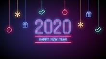 Happy New Year 2020 In Neon Li...
