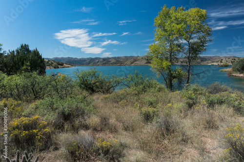 Photo  Horizontal view of Bill Evans Lake in New Mexico.