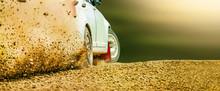 Rally Race Car Drifting On Dir...