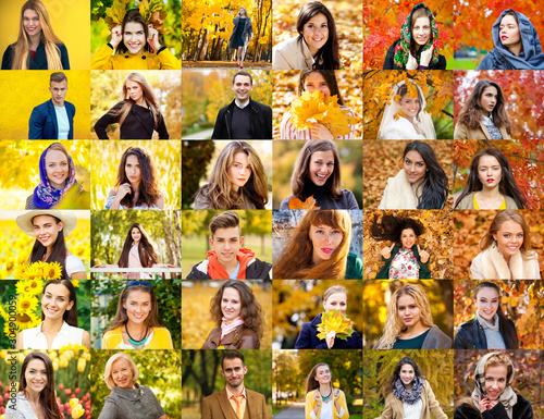 Obraz Collage of happy young people - fototapety do salonu