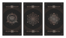 Vector Set Of Three Dark Backgrounds With Sacred Symbols, Grunge Textures And Frames. Illustration In Black And Gold Colors.