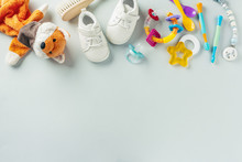 Baby Care Accessories Flat Lay