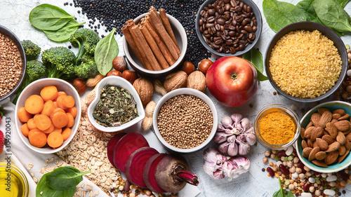 Liver detox diet food concept . Foods for healthy liver.