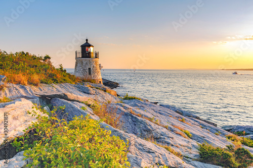 Castle Hill Lighthouse, Newport Rhode Island beautiful scenic New England landsc Canvas Print