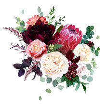 Protea Flower, Garden Rose, Burgundy Red Peony, Peachy Coral Dahlia
