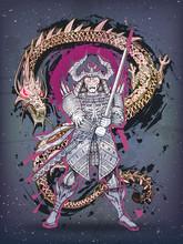 Dragon And Japanese Samurai Ba...