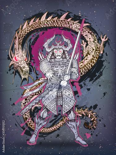 Dragon and japanese samurai battle, hand drawn fantasy art Canvas Print