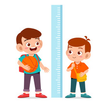 Happy Cute Kid Boy Measure Height Together
