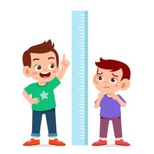 Happy Cute Kid Boy Measure Hei...