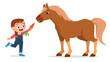 happy cute kid girl feeding cute horse