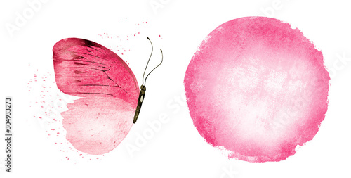 Printed kitchen splashbacks Butterflies in Grunge Watercolor circle and butterfly on white as background