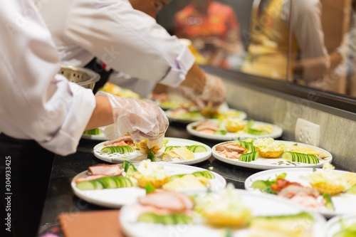 Catering food of hotel Canvas Print