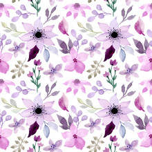 Purple Floral Watercolor Seamless Pattern