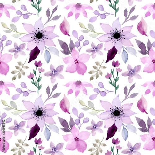 Tapeta fioletowa  purple-floral-watercolor-seamless-pattern