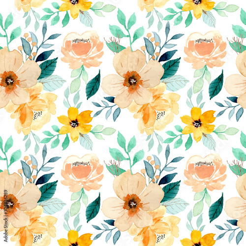 Valokuvatapetti watercolor floral seamless pattern