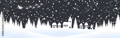 Foto auf Leinwand Weiß christmas landscape background with village and snow
