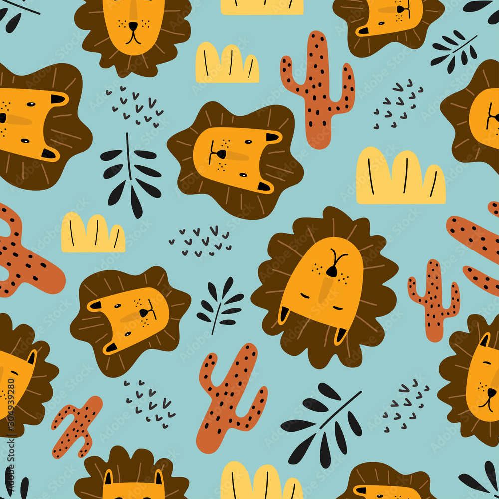Funny lion seamless pattern cute characters. Vector illustration hand drawn childish drawing scandinavian style for fashion textile print.