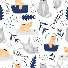 Cute Cats Seamless Pattern Wit...
