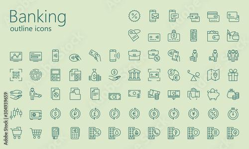 Photo Banking outline iconset
