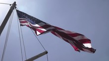 American Flag On Ship Mast Low...