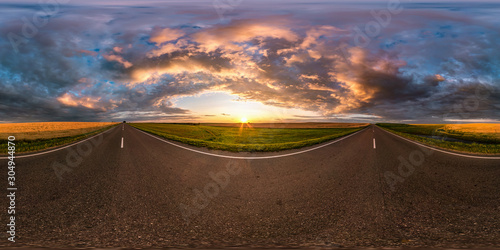 Foto auf Leinwand Schokobraun full seamless spherical hdri panorama 360 degrees angle view on asphalt road among fields in summer evening sunset with awesome clouds in equirectangular projection, ready for VR AR virtual reality