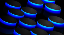 Abstract Vector Background With Black Circles And Blue Reflections. Design Perspective