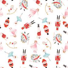 Watercolor Vector Christmas Winter Nutcracker Fairy Tale Ballet Seamless Pattern