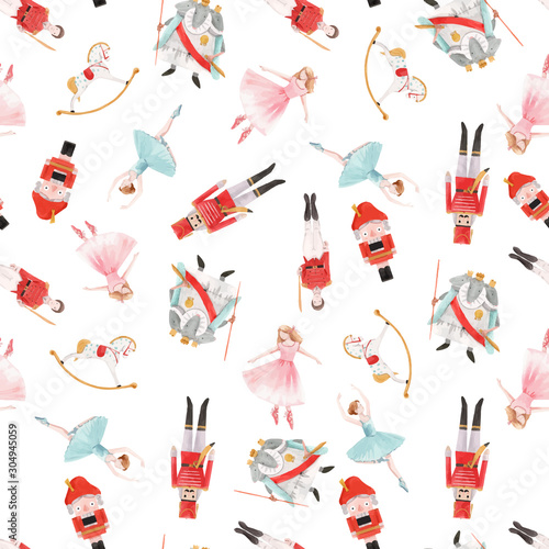 Cuadros en Lienzo Watercolor vector christmas winter nutcracker fairy tale ballet seamless pattern