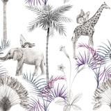 Pięknego afrykańskiego safari zwierzęcy tropikalny bezszwowy wzór. Modny styl. Nadruk ze słoniami i żyrafą. Białe tło. - 304945298