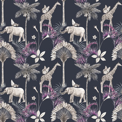 Beautiful african safari animal tropical seamless pattern. Trendy style. Print with elephants and giraffe. Dark background,