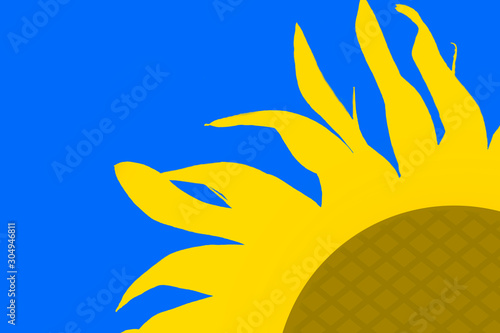 Fototapeta yellow silhouette of a flower of a sunflower on a blue background. obraz
