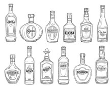 Alcohol Drink Bottles Sketch Icons, Bar Menu Drinks And Beverages. Vector Isolated Bottles Of Premium Quality Vodka, Irish And Scotch Whiskey And Wine, Elite Cognac With Absinthe, Tequila And Bourbon